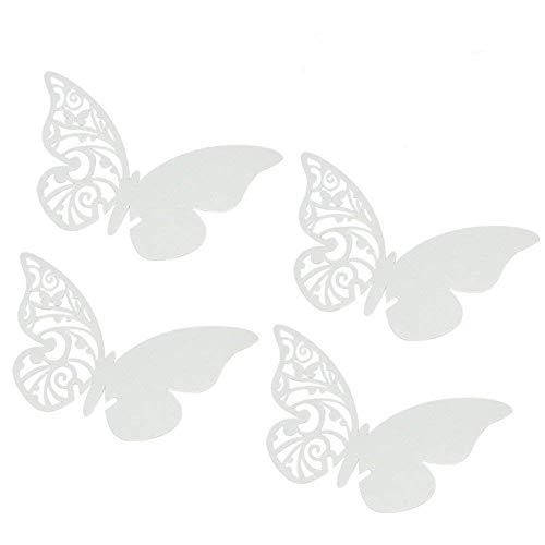 ElecMotive 50Tlg Schmetterling Tischkärtchen Wandsticker Namenskärtchen Platzkarte Namensschild für Hochzeiten Feste Partys (Weiß)