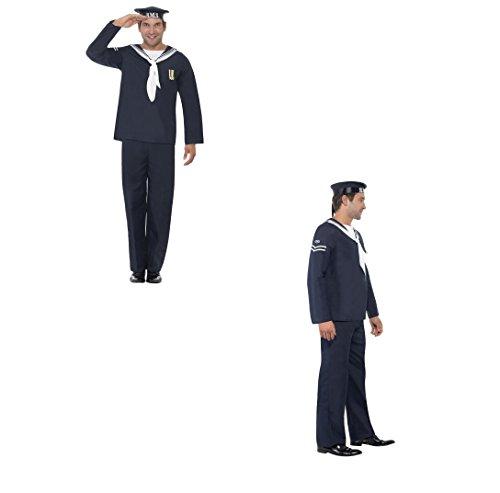 iger Smiffy 's Erwachsenen Herren Naval Navy Seemann Kostüm Hat Top und Hose Krieges 40, Serious Hirsch Spaß, 22129 (1940er Jahren Fancy Dress Kostüm)