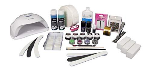 SN Nageldesign Gelnägel Set Starterset, Nagelstudio Set komplett mit UV LED Lampe, UV Gel Farbgel und viel Nagel Zubehör B1