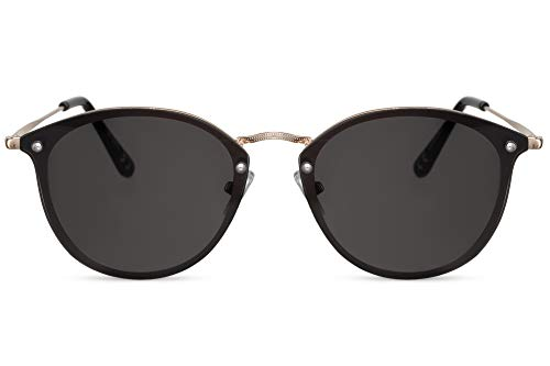 Cheapass Sonnenbrille Rund Schwarz Gold UV-400 Exklusive Designer-Brille Flach Groß Metall Damen Herren