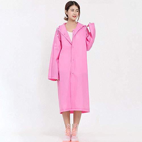 Geyao Gelee Kleber Verdickung Erwachsene Reise im freien umweltfreundlichen Licht Kleid Regenmantel transparenten Regen (Color : Pink, Size : XL)