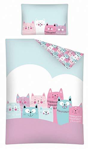 Kinderbettwäsche viele Designs 2-tlg. 100% Baumwolle 40x60 + 100x135 cm (Katze rosa-mint)