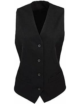 Premier Ladies Lined Polyester Button Waistcoat Black Sizes XS,S,M,L,XL,XXL