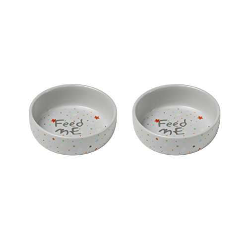 Petface Ceramic Feed Me Puppy and Kitten Two Bowl Set, Small