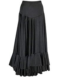 Falda negra con volantes para flamenco, Taille 4:90-112CM