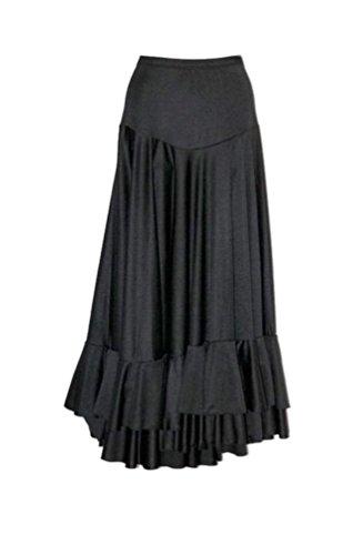 Falda para mujer de flamenco dance negro y 2 Volantes tallas: S, M, L, XL, XXL, color , tamaño extra-large
