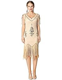 3c4fe9a85ed Metme Women s Roaring 1920s Gatsby Dresses Short Sleeve Black Dress  Cocktail Flapper Dress