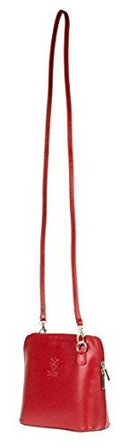 H&G Vera Pelle Trapezoid Shaped Mini Italian Real Leather Cross-Body Handbag (Red_Black) Red