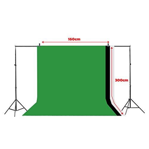 CRAPHY 10x6ft / 3mx2m Hintergrundsystem Stativ Hintergrund Kit + 3x9ft x 6ft Muslin Hintergrundstoff (Grün, Schwarz, Weiß)+ 2xKlemmen + Tragetasche für Fotografie Fotostudio Video Porträt