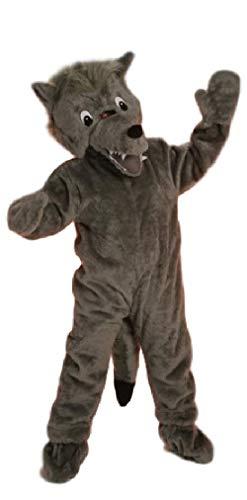 Fancy Me Kostüm für Herren und Damen, großer Wolf, Tier, Märchen, Reim, Sportveranstaltung, großer Kopf, ()