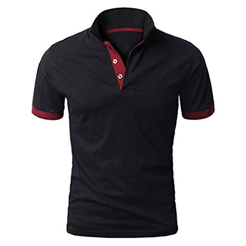 Poloshirt Herren T-Shirt Tops Sommer Kurzarm Bluse Short Sleeve Top Basic Tees Fitness WesteTop Bluse Crew Rundhals Kurzarm T-Shirts Shirt Gym Männer LMMVP(Schwarz, XXL)