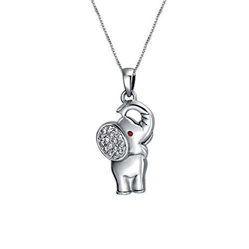 Buena Suerte Animales Zoo Minúsculo Pave CZ Collar Del Colgante De Elefante Para Adolescente Para Mujer 925 Plata De Ley