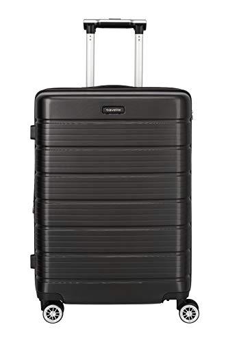 Travelite Funktionaler, smarter, starker, sportlich-eleganter Business-Reisekoffer Hartschalen Trolley Soho Koffer, 66 cm, 72 Liter, Schwarz