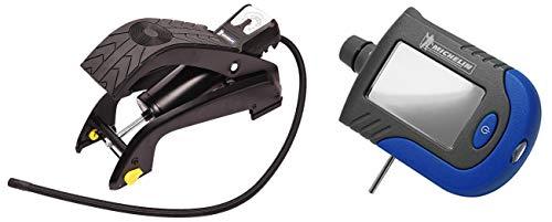 Michelin 12204 Analogue Single Barrel Foot Pump (Black) with MN-4203 Digital Tyre Gauge (Blue) Combo