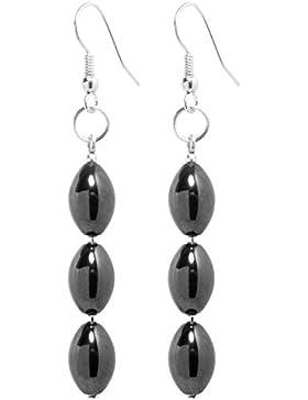 2LIVEfor Handmade Ohrringe Perlen Schwarz Silber Tropfen lang Hängend Magnet und Hämatit Versilbert Schwarze Ohrringe...