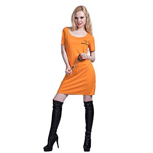 EraSpooky Damen Gefangene Häftling Kostüm Faschingskostüme Cosplay Halloween Party Karneval Fastnacht Kleid für Erwachsene
