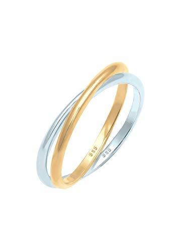 Elli Premium Ring Damen Wickelring Bi-Color Zeitlos in 585er Gelbgold Weißgold