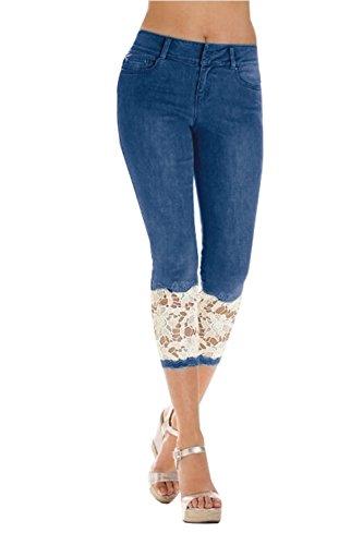 Romancan Damen Capri Spitze Hose Jeans Optik 3/4 Leggings mit SpitzenGr.XX-Large-Dunkelblau