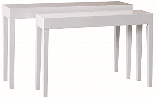 elbmöbel 2er Tisch Set Beistelltisch Konsole Lacktisch aus lackiertem Holz Hochglanz schmal 80x130x34cm und 75x112x27cm (weiß, 2er Set) - Antik Weiß Schlafzimmer-set