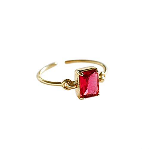 Lotus Fun S925 Sterling Silber Ring Fashion Rotes Quadrat Zirkon Ringe öffnen Ringe Natürlicher Kreativ Beliebt Handgemachter Einzigartiger Schmuck für Frauen und Mädchen (Schmuck Ringe Handgemachter)