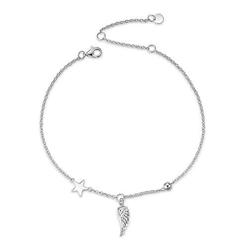 Engelsflügel Fußkettchen für Frauen Teen Mädchen Sterling Silber verstellbare Flügel Perlen und Ball Star Fußkettchen Strand Minimalismus Fußkettchen Schmuck