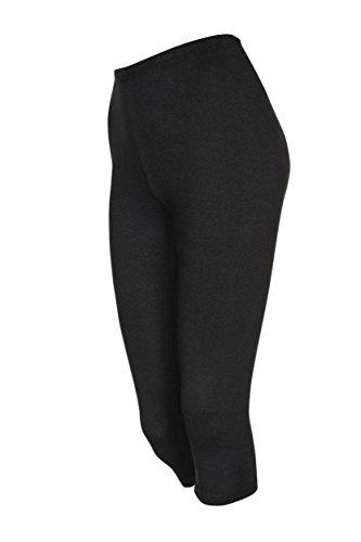 Damen Leggings Hose Capri 3/4 aus Baumwolle (M, schwarz)