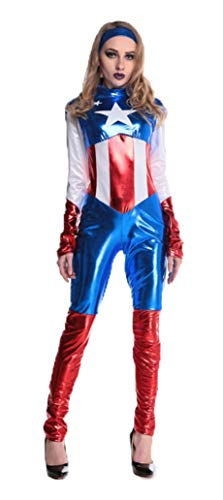 SA Traum Captain America Superhelden jumpsuit Fancy Dress Größe (36-38) ()