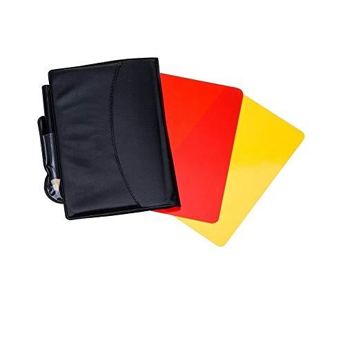 Kit de árbitro de fútbol:   Este equipo de árbitros de fútbol incluye 2 monederos negros, cada caja con billetera negra tiene 1 tarjeta de advertencia de plástico roja y 1 amarilla, 1 lápiz y 6 tarjetas de puntuación dentro.    Diseño especial de bi...