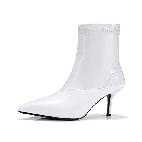 QIN&X Donna Punta Stiletto Tacchi Alti breve Stivaletti pattini della piattaforma White