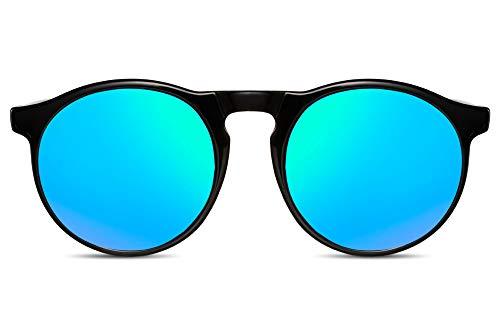 Cheapass Sonnenbrille Schwarz Grün-Blau Verspieglt UV-400 Festival-Brille Plastik Damen Herren