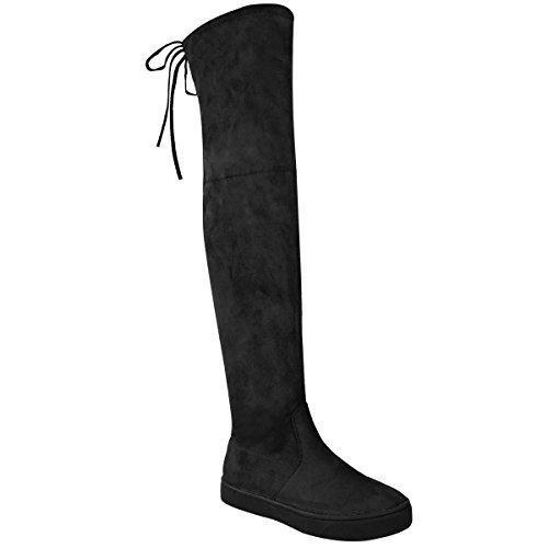 donna sopra al ginocchio Basse aderenti, alti stivali tacco basso con lacci SKATER Taglia Nera Pelle Scamosciata