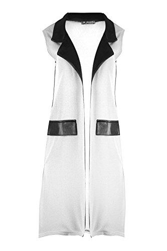 Oops outlet femme extensible pVC brillant col page fente split midi longueur ouverte avant le manteau veste blazer blouse en tricot top plus eU 36–50 Crème