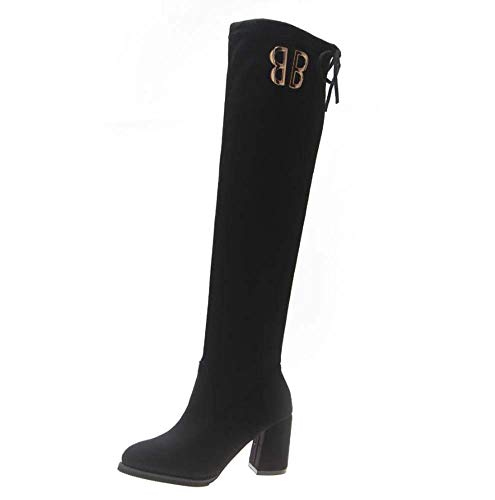 Buckle Knee High Boot (Mamrar Stretch Stovepipe Boots Knee High Boot 7,5Cm Chunkly Heel Knight Boot Frauen Fashion Pointed Toe Drae Drawstring Belt Buckle Party Dress Boot Eu Size 34-39,Black,35EU)