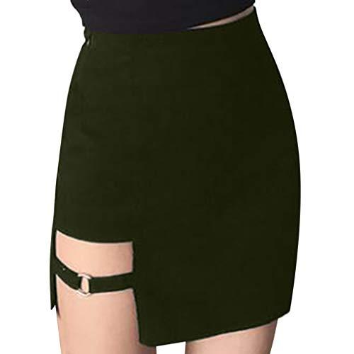 BHYDRY Damen-Damenmode Sexy Zipper Split Rock(Large,Armeegrün)