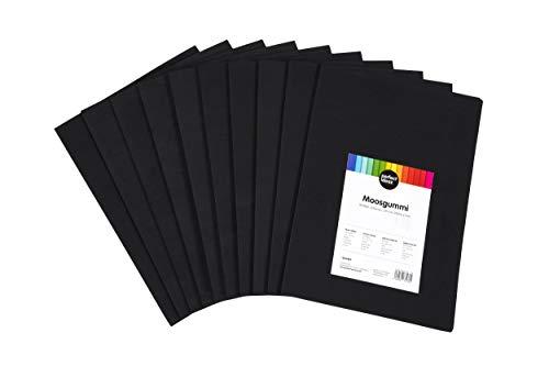 perfect ideaz 30 Blatt DIN-A4 Moos-Gummi schwarz, Schaumstoff-Platten in schwarzer Farbe, 2 mm Dicke, schwarzes Schaum-Gummi, Foam-Set zum Basteln, DIY-Bedarf, Moosgummi-Matte für Kinder -
