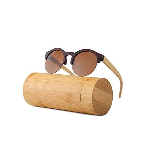 Sport-Sonnenbrillen, Vintage Sonnenbrillen, Fashion Round Bamboo Sunglasses Women Luxury Brand Design Vintage Retro Wood Sun Glasses For Men Oculos De Sol Mujer C1 With Case
