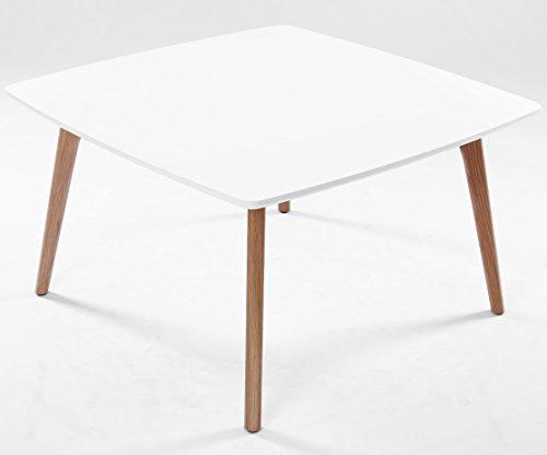 Table basse AIKA carrée 80 cm x 80 cm chêne et blanc