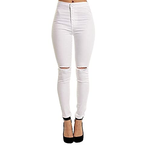 Jean Troue Femme Pantalon Dechiré Troué Talle Haute Stretch Collant