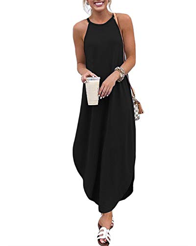 CNFIO Sommerkleid Damen Elegant Kleider V-Ausschnitt Ärmellos Einfarbig Shirt Design Kurz Blusenkleid Minikleid Strand Kleider -