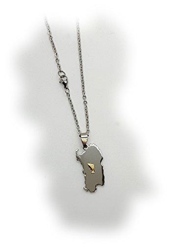 Ciondolo sardegna in acciaio con catenina e componente in oro