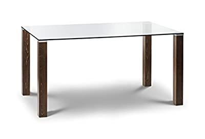 Julian Bowen Cayman and Glass Dining Table, Walnut - low-cost UK dining table store.