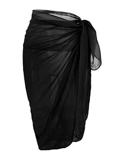 CHIC DIARY Damen-Chiffon- Pareo Strand Wrap Sarong Badeanzug Schal-Vertuschung für Urlaub (Schwarz) -