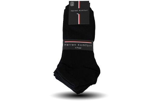 Pagel Strumpfimporte 12 Paar Herren Sneaker Socken 100% Baumwolle schwarz (43/46)