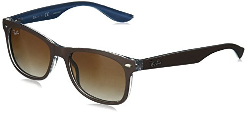 RAYBAN JUNIOR Unisex-Kinder Sonnenbrille New Wayfarer Junior, Top Matte Brown One Blue/Browngradientdarkbrown, 48