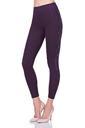 futuro fashion einzigartig voller Länge Baumwolle Leggins mit Spitze Streifen alle Größen Hosen elagent Mode Hose 8-20 UK lpl Plum