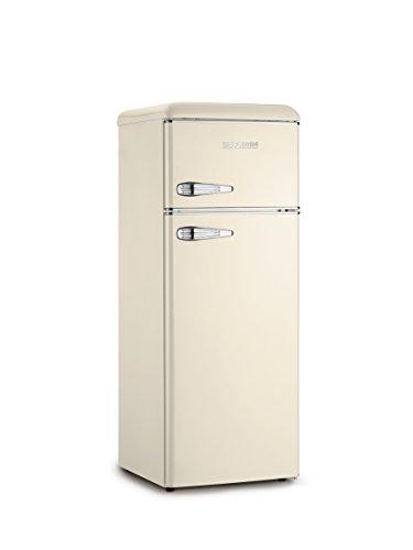 SEVERIN Doppeltür-Kühl-/Gefrierschrank, Retro-Design, 166 L/46L, Energieeffizienzklasse A++, KS 9956, Creme/Chrom