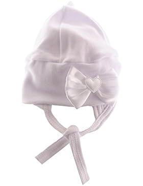 Baby Mütze Cap Mützchen Haube mit Schleife Weiß festlich Taufe La Bortini