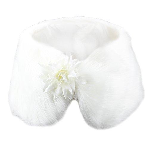 Yanibest elegante nappa capelli lunghi faux fur scialle di nozze stole avvolge il capo per le donne