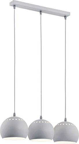 Pendelleuchte Grau Weiß 3-flammig Industriestil Bauhaus Metall Schirm Kugelform E27 Küchenlampe Hängeleuchte Hängelampe