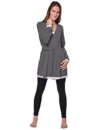 Raikou Damen Klassisches Nachthemd Schlafanzug Aus Modal Baumwollmix Mit Spitze